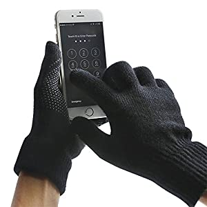 MPHABON Touch screen gloves winter men and women knitted warm gloves (Black)