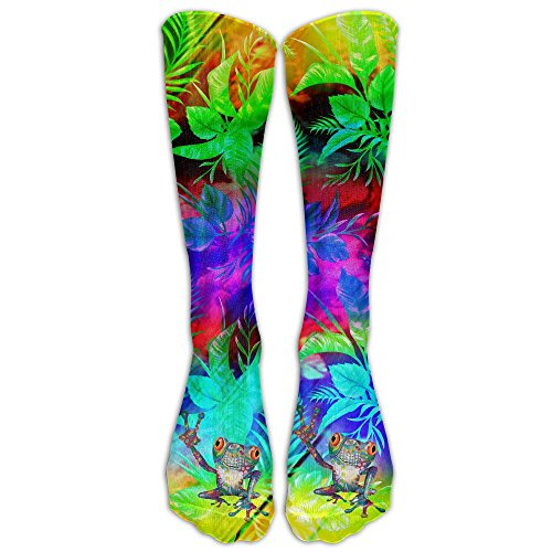 QCa Stocking Peace Frog Unisex Outdoor Knee High Long Tube Socks