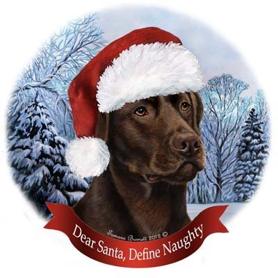 Dog in Santa Hat Porcelain Hanging Howliday Ornament (Chocolate Lab) (Chocolate Labs)