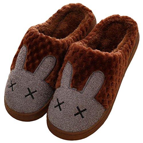 Pantoffeln, Eagsouni® Unisex Warme Hausschuhe Indoor Startseite Slipper Winter Plüsch Baumwolle Pantoffeln Leicht Cartoon Kaninchen Wärmehausschuhe Für Damen Herren Kaffee