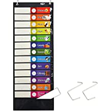 """Daily Schedule Pocket Chart, Black Class Schedule with 26 Cards, 13+1 Pockets. 13 Colored + 13 Blank Double-Sided Reusable Cards, Easy Over-Door Mountings Included. (13"""" x 36"""")"""