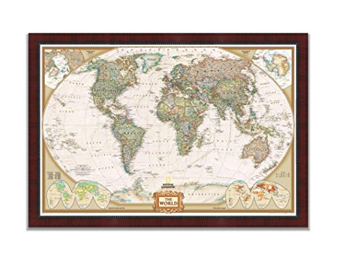 Renditions Gallery NATGEO3-7500-2842 Executive National Geographic Travel Map with Push Pins, Wall Art for Living Room, Bedroom, Office, Mahogany and Ebony, 30x44, ()