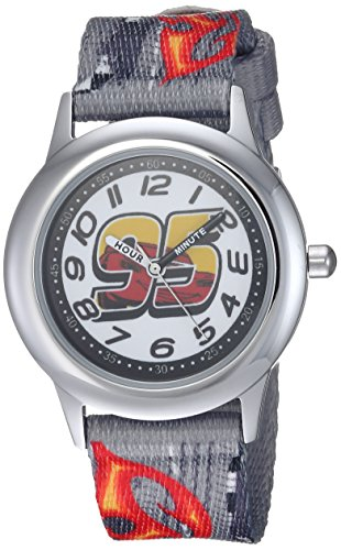 Disney Boy's 'Cars 3' Quartz Stainless Steel and Nylon Casual Watch, Color:Grey (Model: WDS000459)
