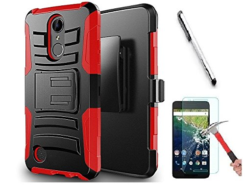 (Luckiefind Compatible with Samsung Galaxy J3 (2018) J337/Galaxy AMP Prime 3/Galaxy J3 Achieve/Galaxy J3 Star, Hybrid Side Kickstand Cover Case With Holster Clip (Holster Red))