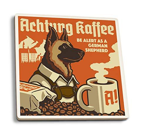 Lantern Press German Shepherd - Retro Coffee Ad (Set of 4 Ceramic Coasters - Cork-Backed, Absorbent)
