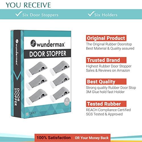 Wundermax Decorative Door Stopper With Free Bonus Holders, Door Stop Works on All Floor Surfaces, Premium Rubber Door Stops, The Original (6 Pack, Grey) by Wundermax (Image #1)