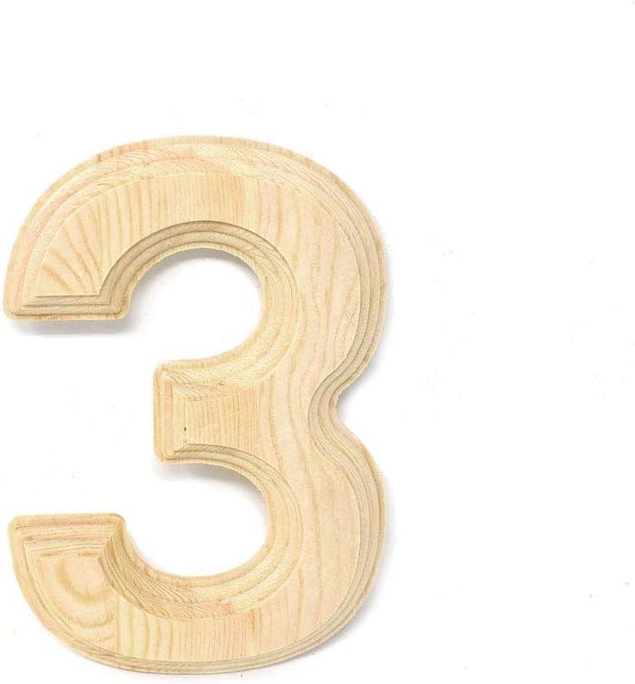 Pine Wood Beveled Wooden Number 4 Natural 6-Inch