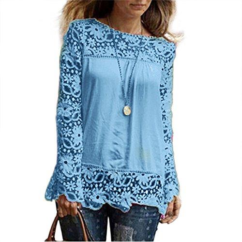 Clearance Women Tops LuluZanm Autumn Casual Lace Blouse Loose Cotton Tops T Shirt Fashion Womens Long Sleeve Shirt