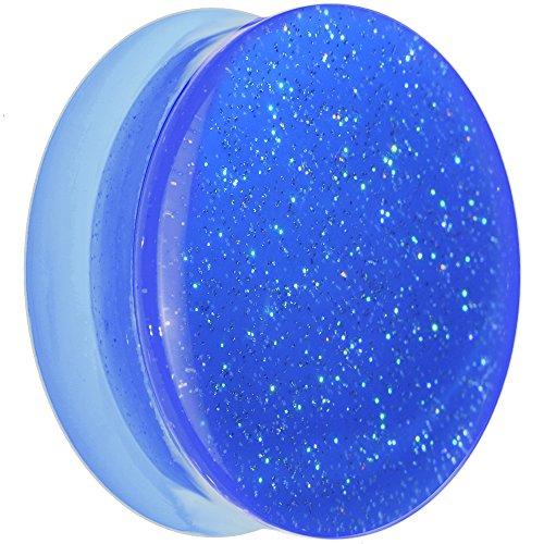 (Body Candy Blue Neon Acrylic Glitter Saddle Ear Gauge Plug (1 Piece))