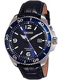 Seiko Kinetic Blue Dial Blue Leather Mens Watch SKA745P2
