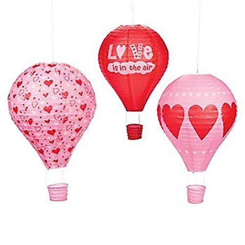 Fun Express Red Pink Hearts Hot Air Balloon Hanging Paper Lanterns (Set/3)