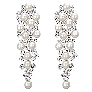 BriLove Women's Wedding Bridal Crystal Simulated Pearl Multi Beaded Cluster Chandelier Dangle Earrings