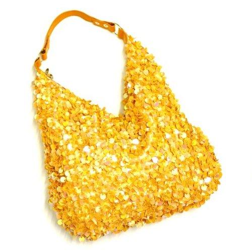 Beaded Hobo Purse Handbag - Fashion Hobo Beaded Sequin Leather Handle Shoulder Handbag - orange