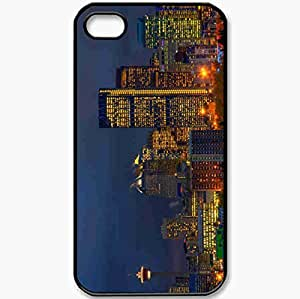 Protective Case Back Cover For iPhone 4 4S Case Canada Calgary Alberta Building Skyscrapers Black