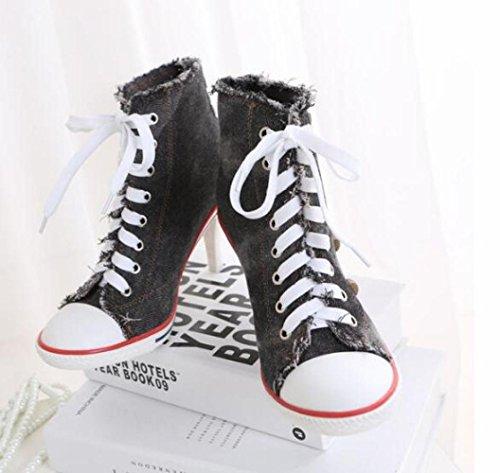 Pompe Hauts Haute black Toile De Femmes Chaussures JQNSX Baskets Chaussures à Compensées Chaussures Talons Lacets RpcvXqB