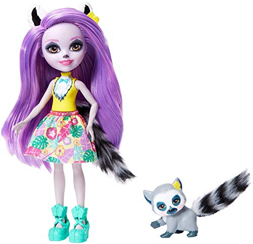 Enchantimals-Larissa Lemur Muñeca con Mascota Ringlet, multicolor (Mattel GFN44)