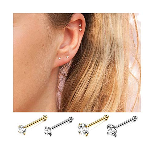 - INDEPENDENT-NEWBIE New 100% 925 Silver Clear Cz Stud Small Mini Sterling Earrings for Women Ear Bone Nail Girls Party Gold Jewelry 2019,Silver,2.0mm