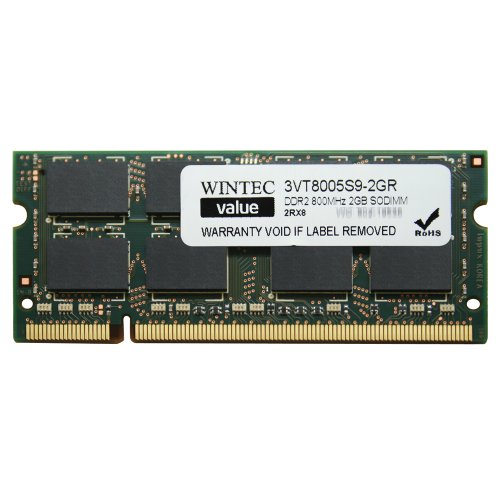 Wintec Value MHz 2GB SODIMM Retail 2Rx8 2 Not a Kit (Single) DDR2 800 (PC2 6400) 200-Pin SO-DIMM 3VT8005S9-2GR