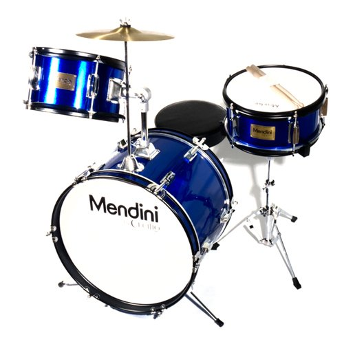Price comparison product image Mendini by Cecilio 16 inch 3-Piece Kids / Junior Drum Set with Adjustable Throne,  Cymbal,  Pedal & Drumsticks,  Metallic Blue,  MJDS-3-BL