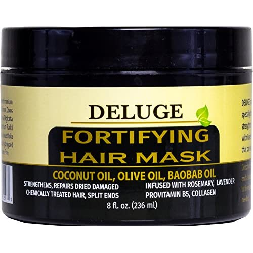 Top DELUGE - Fortifying Hair Mask with Baobab Oil, Coconut Oil and Olive Oil, Restores, Repairs and Nourishes Dry Damaged Hair- Collagen + ProVitamin B5 -Net Wt. 8 oz free shipping