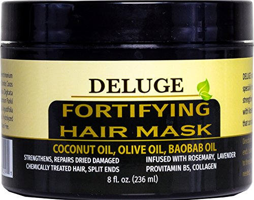 DELUGE - Fortifying Hair Mask with Baobab Oil, Coconut Oil and Olive Oil, Restores, Repairs and Nourishes Dry Damaged Hair- Collagen + ProVitamin B5 -Net Wt. 8 oz (Best Shampoo For Damaged Hair And Split Ends In India)