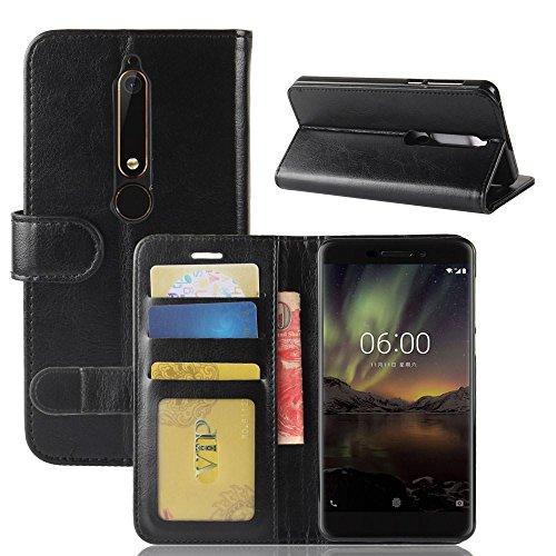 Nokia 6 (2018) Funda DISLAND [Lisa] [Caso de carpeta] Soporte tarjeta Flip Slots PU cuero funda piel para Nokia 6 (2018),Rojo Negro