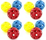 Official Size Colored Plastic Baseballs (Hollow Whiffle Balls) Set For Batting Practice - 12 Pack