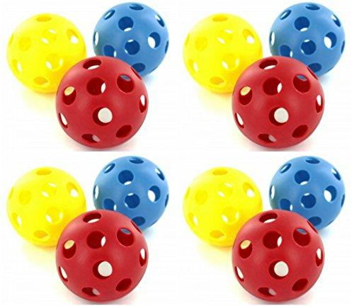 d Plastic Baseballs (Hollow Whiffle Balls) Set For Batting Practice - 12 Pack ()