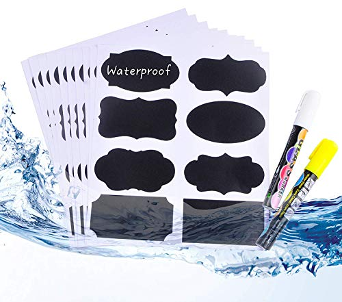 Fish Hanging Surface - CHALKBOARD LABELS 112 Pack, Pantry and Storage Stickers for Jars: Mason, Spice, Glass, Cups, Bottles, Containers, Canisters, Large Decorative Reusable Waterproof Blackboard Vinyl Set w/ 2 Markers