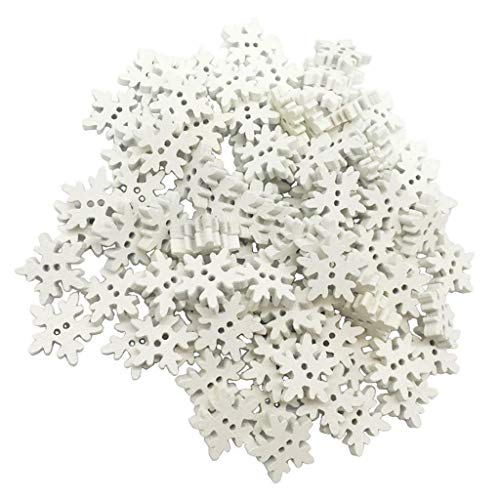 100pcs White Snoeflake 2 Holes Wodden Button for DIY Sewing Accessories 19mm (Crochet Pattern Child Poncho)