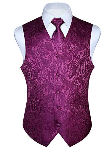 HISDERN Men's Paisley Jacquard Solid Waistcoat & Necktie and Pocket Square Vest Suit Tuxedo Set Purple]()