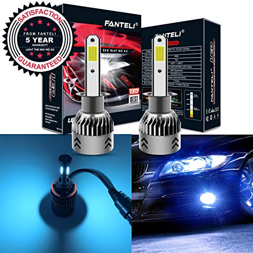 (FANTELI H1 8000K Ice Blue LED Headlight Bulbs All-in-One Conversion Kit - 72W 8000LM High Beam/Low Beam/Fog Lights Extremely Bright)