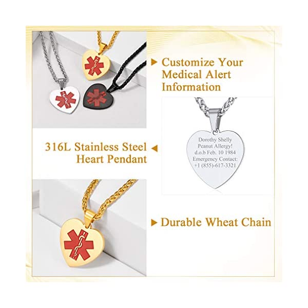 Custom4U Braccialetto di allerta medica, braccialetti Sos per uomo donna, braccialetti personalizzati per donna uomo… 3