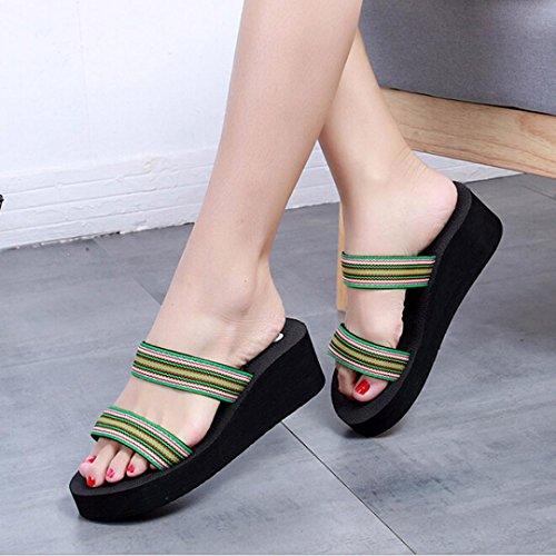 Ouneed Mujeres Verano Bohemia Playa Plataforma Zapatillas de Baño Cuña Pendiente Zapatillas Verde