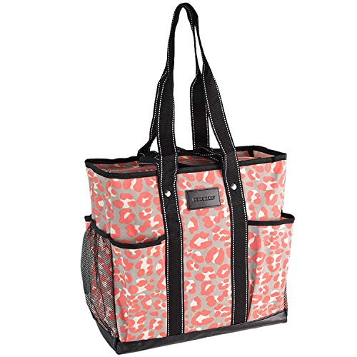 DEMOMENT Canvas Tote Bag Utility Teacher Tote Bag Handbag Shoulder work Bag (Pink Leopard)