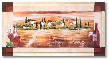 Kunstdruck Bild Toskana Mit Rahmen Mediterran Italien Wohnzimmer 107x57 Cm PREIS HIT