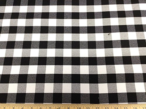 Discount Fabric 58 inches wide Drapery Black and White Check DR23 - Black White Upholstery Fabric