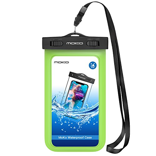 MoKo Waterproof Phone Pouch, Underwater Waterproof CellPhone Case Dry Bag with Lanyard & Armband Compatible with iPhone X/Xs/Xr, 8/7/6s Plus, Samsung Galaxy S9/S8 Plus, S7 Edge, S6, Huawei , Green