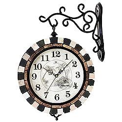 SSBY Eastern Mediterranean large double sided wall clock room quiet Korean creative art clock two bells,B