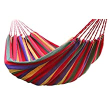 Outdoor Indoor Portable Furniture Thickening Canvas Cotton Fabric Cloth Stripe Hammock Swing Hang Sleeping Bed for Camp Travel Camping Travelling Beach Garden Orange (200cmX150cm)