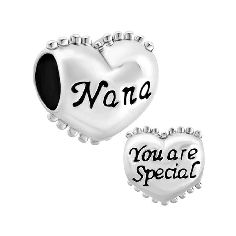 59b9d57b6 LovelyCharms 925 Sterling Silver NaNa You Are Special Heart Beads Sale Fit  Pandora Charm Bracelets