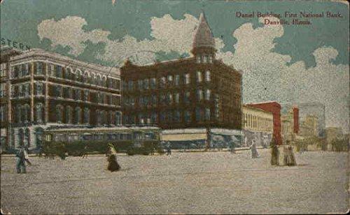 Daniel Building  First National Bank Danville  Illinois Original Vintage Postcard