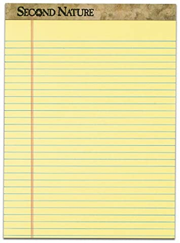TOPS Second Nature 100% Recycled 18 lb. Legal Pad, 8-1/2 x 11-3/4 Inches, Perforated, Canary, Legal/Wide Rule, 50 Sheets per Pad, 12 Pads per Pack - Recycled Paper Pads