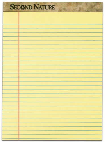 TOPS Second Nature 100% Recycled 18 lb. Legal Pad, 8-1/2 x 11-3/4 Inches, Perforated, Canary, Legal/Wide Rule, 50 Sheets per Pad, 12 Pads per Pack (74095)