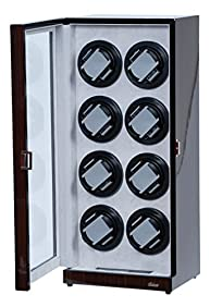 Eight Watch Winder Ebony Wood w/LCD Dispaly Japenese Mabuchi Motors