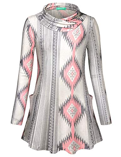 Kimmery Boutique Clothing for Women, Fall Pocket Tunics Fancy Geometrical Pattern Cowl Neck Long Sleeve Tops Loose Fitting Comfy Multicolor Designer Shirts Holiday Going Out Warm Knitwear Gray -