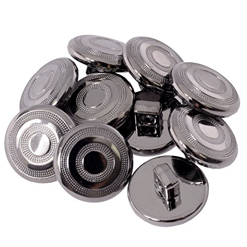 Shank Pattern Buttons (ABS Metal Plated Shank Button - Circular Pattern with Dotted Texture - 24 Line - Gunmetal)