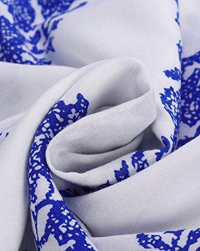 StyleDome Mujer Vestido Mini Camisa Playa Cuello Barco Hombros Descubiertos Blusa Mangas Largas 1 Flor Azul En Blanco