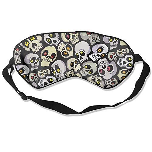 Halloween Skulls Silk Sleep Eye Mask Flexible & Breathable Eyeshade With Adjustable Strap