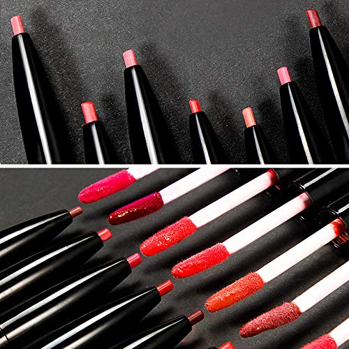 QIBEST 3 Pcs Matte Velvet Liquid Lipstick Lip Liner - 2 in 1 Double-End Nude Color Waterproof Long Lasting Durable Non-Stick Cup Makeup Set (Nude)